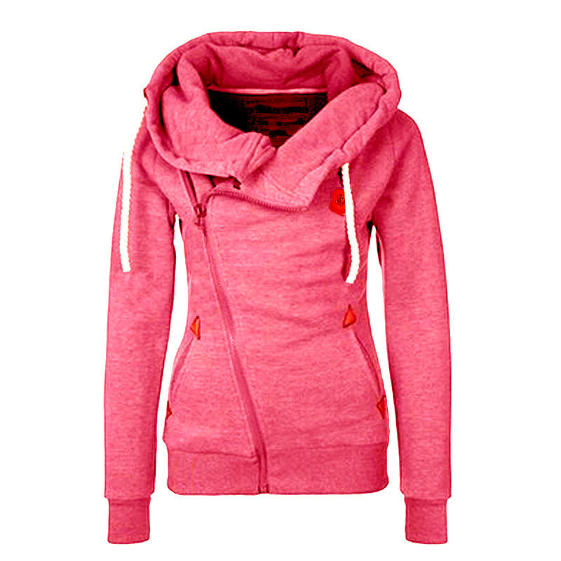 Sport High Neck Lace Up Casual Hoodie - O Yours Fashion - 5
