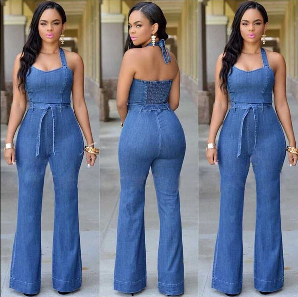 Halter Bell-bottoms Sheath Backless Pure Denim Jumpsuits - Oh Yours Fashion - 1