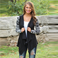 Asymmetric Print Splicing Long Sleeve Cardigan - Oh Yours Fashion - 1