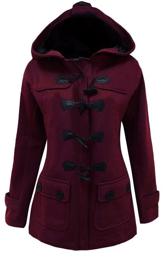 Button Pocket Long Warm Hooded Trench Coat - Meet Yours Fashion - 2
