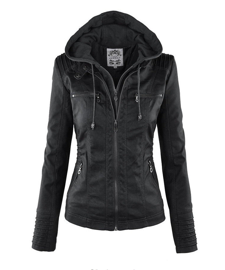 Removable Collar Zipper Womens Jacket Hoodie - O Yours Fashion - 3