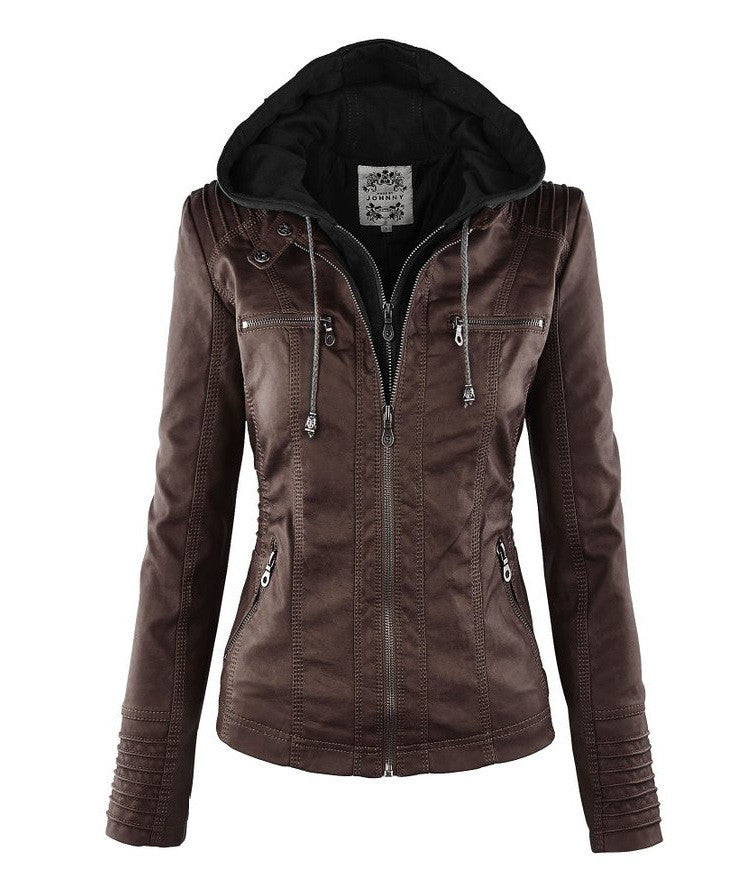 Removable Collar Zipper Womens Jacket Hoodie - O Yours Fashion - 2