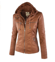 Removable Collar Zipper Womens Jacket Hoodie - O Yours Fashion - 7