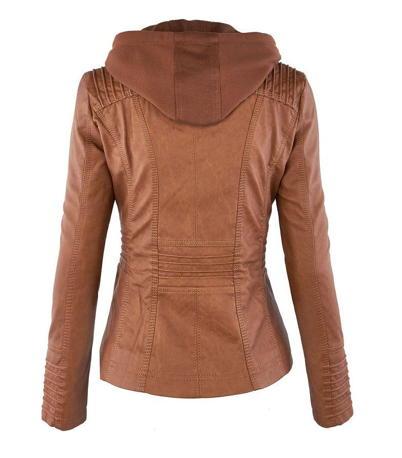 Removable Collar Zipper Womens Jacket Hoodie - O Yours Fashion - 6