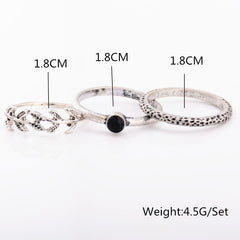Leaf Textured Three-Piece Combination Ring - Oh Yours Fashion - 2