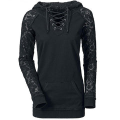 Lace Splicing Lace-Up Women Hoodie - O Yours Fashion - 1