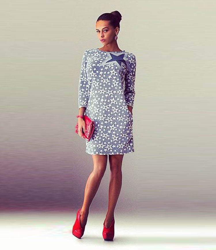 Fashion Star Print Long Sleeve Short Slim Dress - Oh Yours Fashion - 4