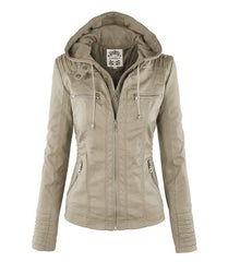 Removable Collar Zipper Womens Jacket Hoodie - O Yours Fashion - 4