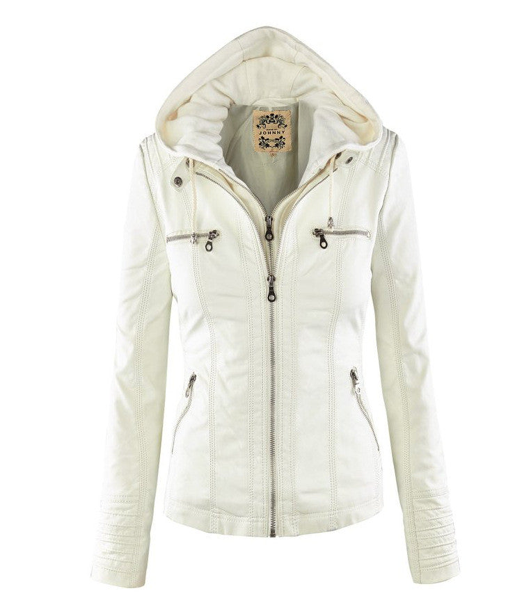 Removable Collar Zipper Womens Jacket Hoodie - O Yours Fashion - 5