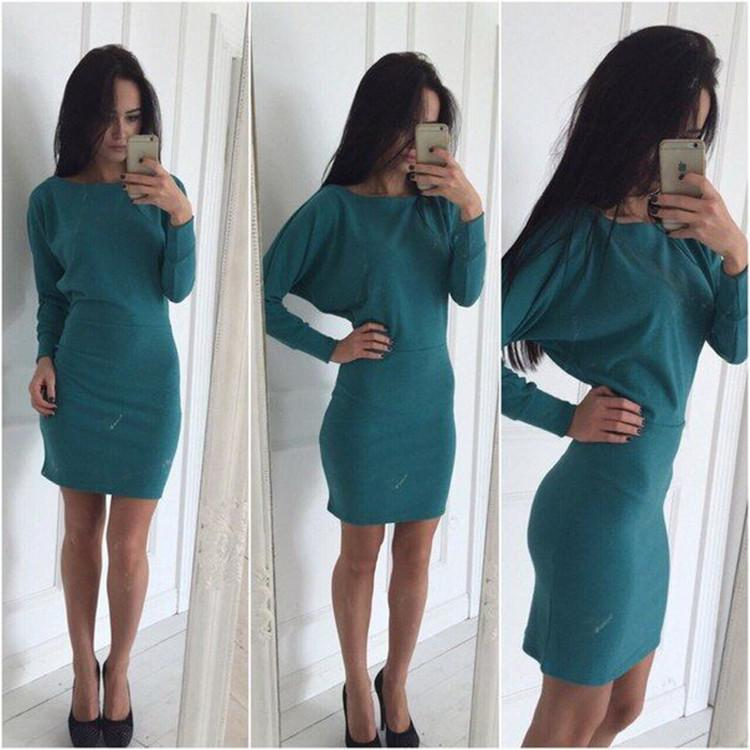 Bodycon Boat Neck Long Sleeves Short Dress - Meet Yours Fashion - 4