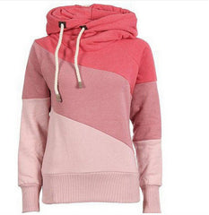 Color Block Patchwork High Neck Sport Hoodie - O Yours Fashion - 5