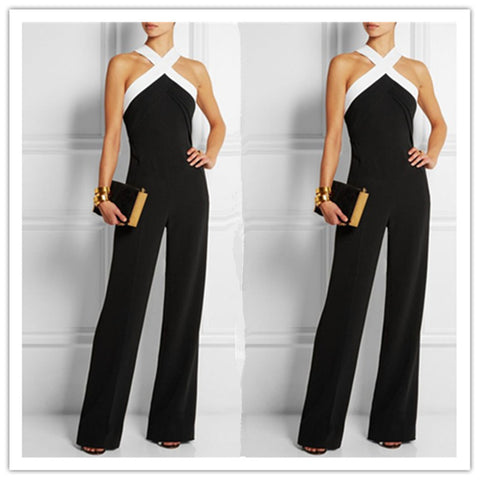 Elegant Patchwork Brief Halter Long Sleeveless Jumpsuits