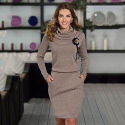 Pure Color Long Sleeves Knee-Length Office Dress - Oh Yours Fashion - 1