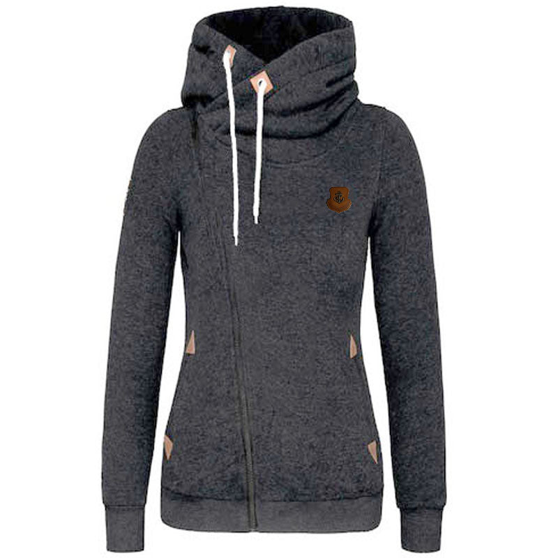 Sport High Neck Lace Up Casual Hoodie - O Yours Fashion - 1