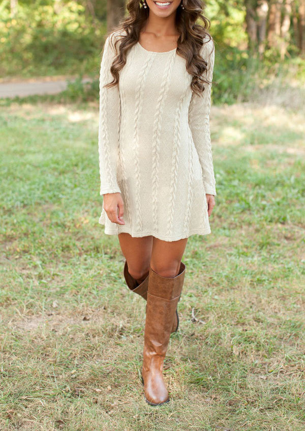 Knitting Round Neck Long Sleeve Sweater Dress - Oh Yours Fashion - 3