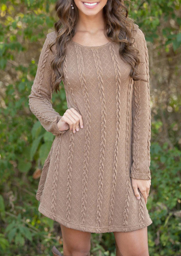 Knitting Round Neck Long Sleeve Sweater Dress - Oh Yours Fashion - 7