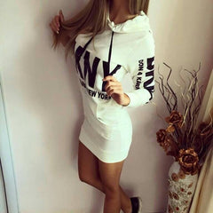 Letter Print Drawstring Bodycon Short Dress - Oh Yours Fashion - 3