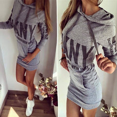 Letter Print Drawstring Bodycon Short Dress - Oh Yours Fashion - 1