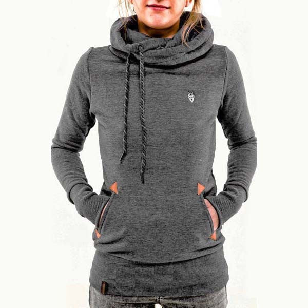 Embroidered Pocket Pure Color Womens Hoodie - O Yours Fashion - 1