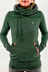 Embroidered Pocket Pure Color Womens Hoodie - O Yours Fashion - 4