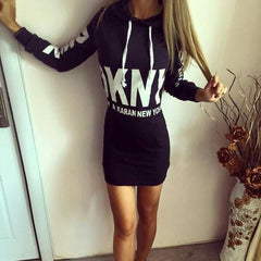 Letter Print Drawstring Bodycon Short Dress - Oh Yours Fashion - 2