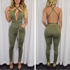 Backless Deep V-neck Straps Bandage Long Jumpsuit - Oh Yours Fashion - 6