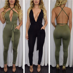 Backless Deep V-neck Straps Bandage Long Jumpsuit - Oh Yours Fashion - 3