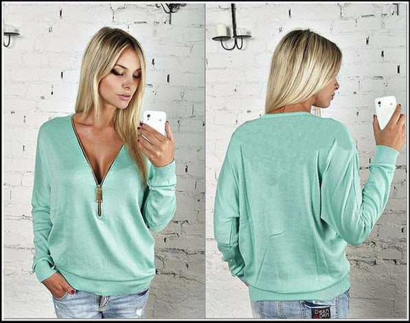Deep V-neck Zipper Long Sleeves Casual Loose Bat-wing Sleeve Blouse - Oh Yours Fashion - 6