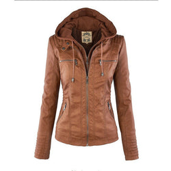 Removable Collar Zipper Womens Jacket Hoodie - O Yours Fashion - 1