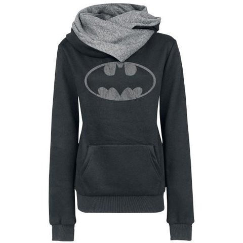 Batman Print Pocket Womens Hoodie Sweatshirt