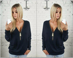 Deep V-neck Zipper Long Sleeves Casual Loose Bat-wing Sleeve Blouse - Oh Yours Fashion - 3