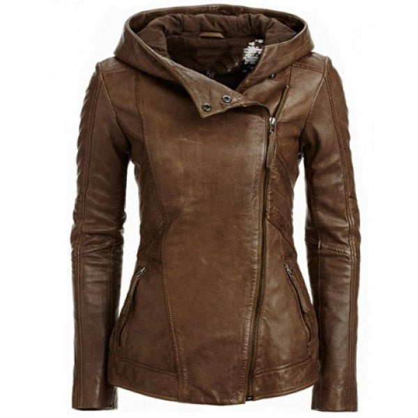 Zipper Hooded PU Womens Jacket - O Yours Fashion