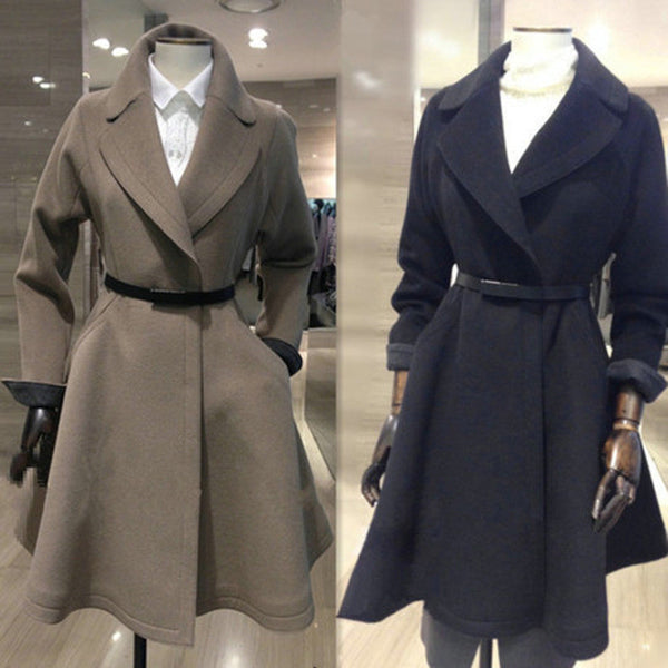 Belt Lapel Pleated Solid Pockets Long Coat - Oh Yours Fashion - 1