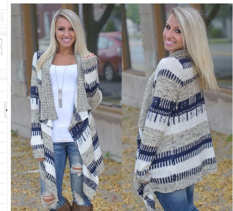 Contrast Color Cardigan Irregular European Fashion Sweater - Oh Yours Fashion - 1