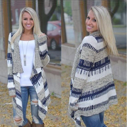 Contrast Color Cardigan Irregular European Fashion Sweater