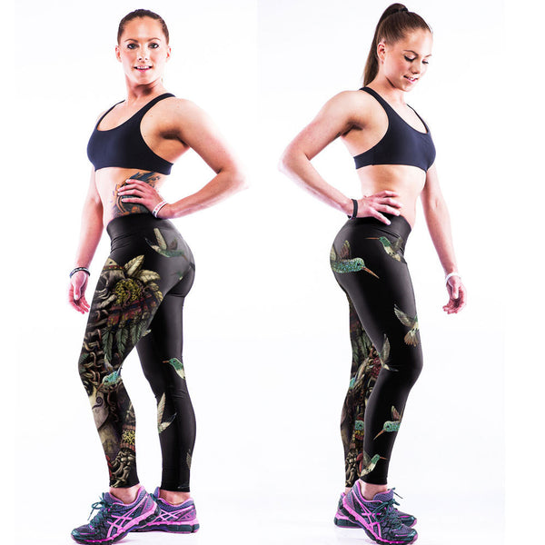 Low Waist Flower Print Skinny Elastic Youga Sport Leggings - Oh Yours Fashion - 1