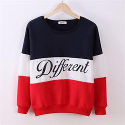 Contrast Color Letter Splicing Print Pullover Scoop Sweatshirt - Oh Yours Fashion - 2
