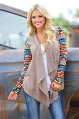 Asymmetric Print Splicing Long Sleeve Cardigan - Oh Yours Fashion - 2