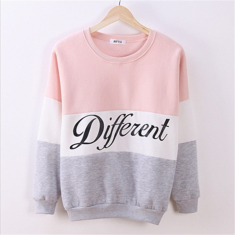 Contrast Color Letter Splicing Print Pullover Scoop Sweatshirt - Oh Yours Fashion - 4