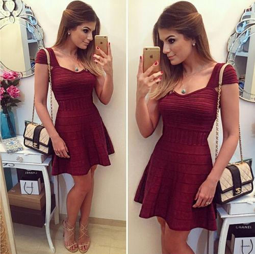 Slim Square Neckline Short Sleeve Short Party Dress