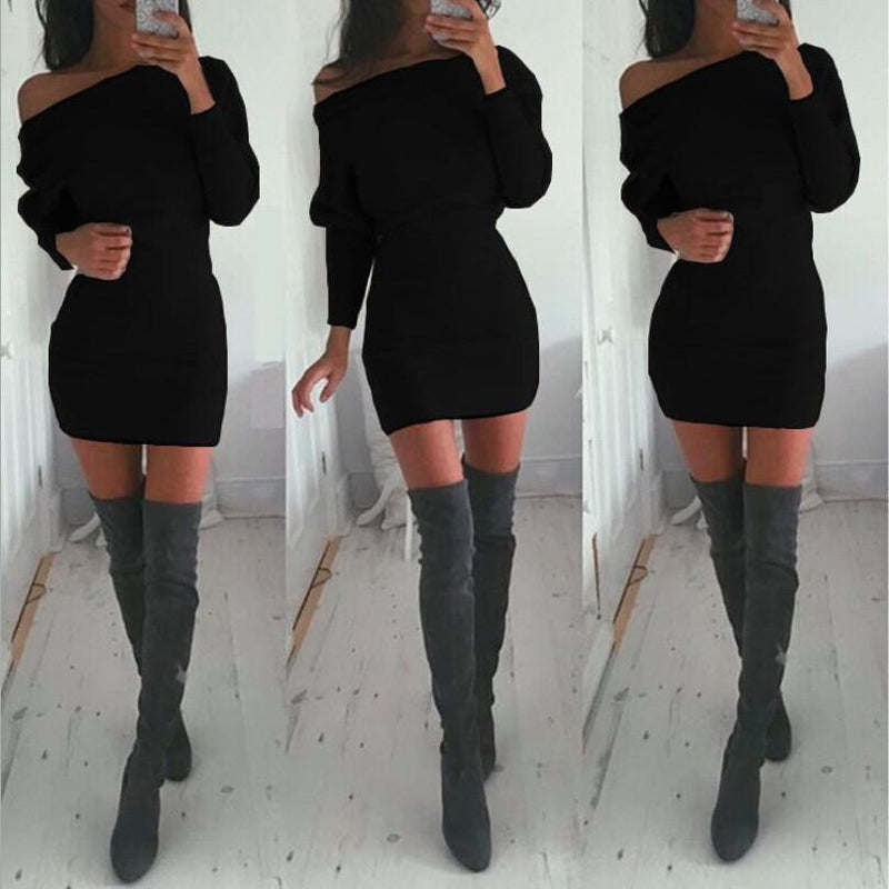 Bodycon Boat Neck Long Sleeves Short Dress - Meet Yours Fashion - 2
