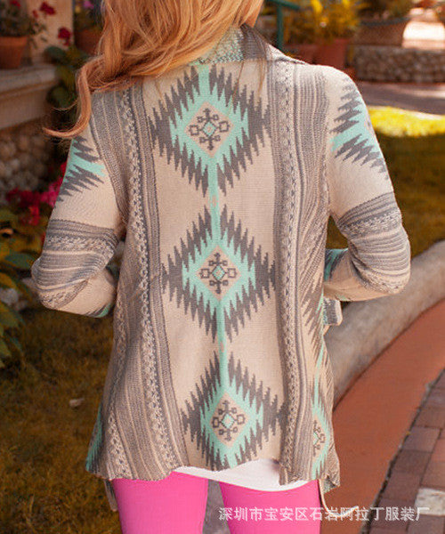 Asymmetric Print Cardigan Slim Fashion Sexy Sweater - Oh Yours Fashion - 4