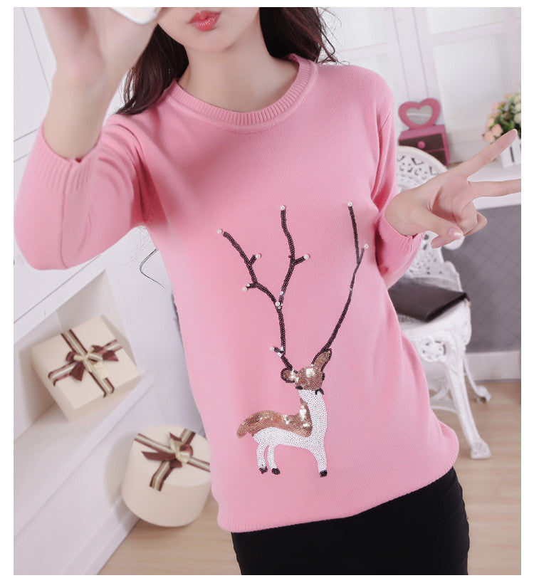Scoop Ribbed Knit Cartoon Pattern Loose Pullover Short Sweater - Oh Yours Fashion - 4