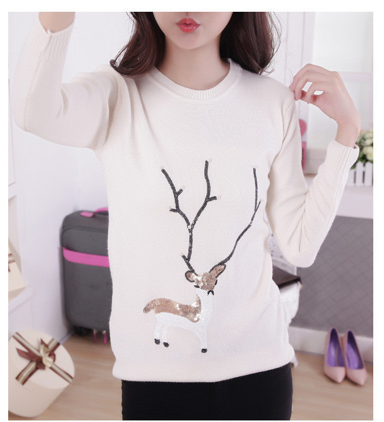 Scoop Ribbed Knit Cartoon Pattern Loose Pullover Short Sweater - Oh Yours Fashion - 3