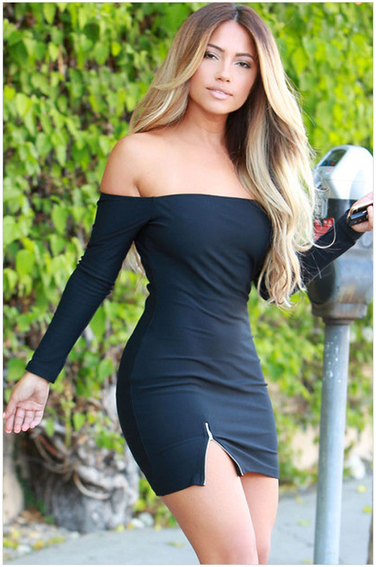 Pure Color Off Shoulder Bodycon Short Dress - Oh Yours Fashion - 2