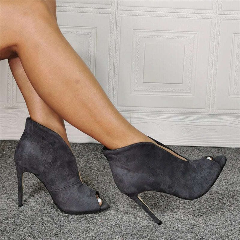 Gray Suede Peep Toe High Heel Ankle Sandals
