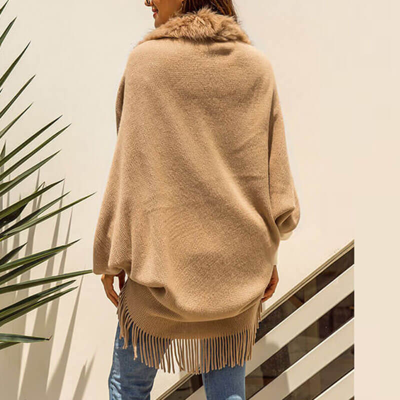 Fringed Poncho Cardigan Pure Color Sweater