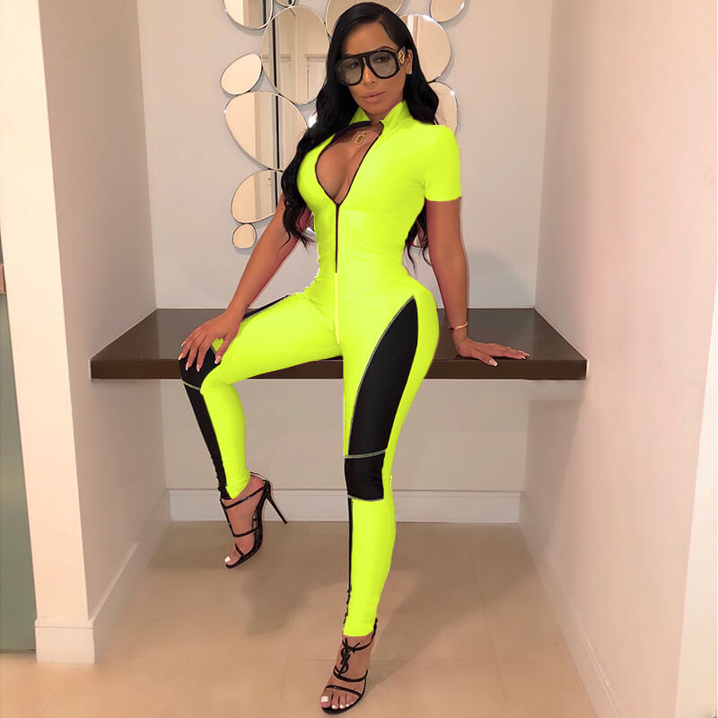 Short Sleeves Bodycon Skinny Onepiece Jumpsuit