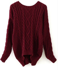Braid Knitting Side Splitting Sweater - Oh Yours Fashion - 5
