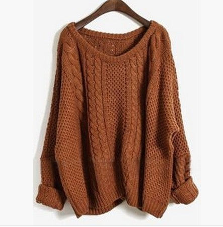 Braid Knitting Side Splitting Sweater - Oh Yours Fashion - 1